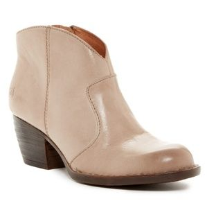 Born - Michel Leather Taupe Almond Toe Ankle Boots